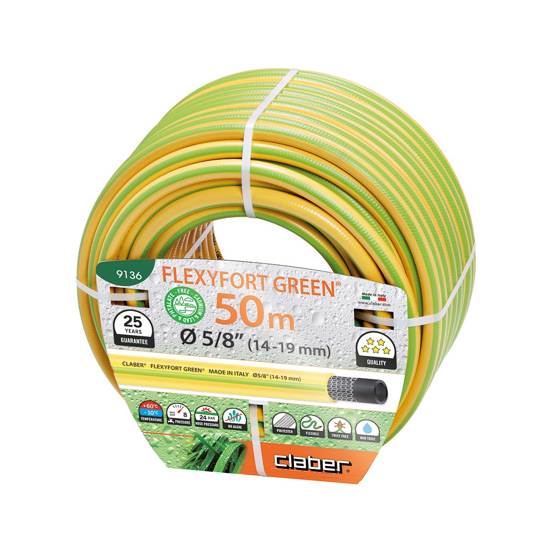 Tubo irrigazione giallo 50 metri flexyfort claber 9136 for Tubo giardino 5 8