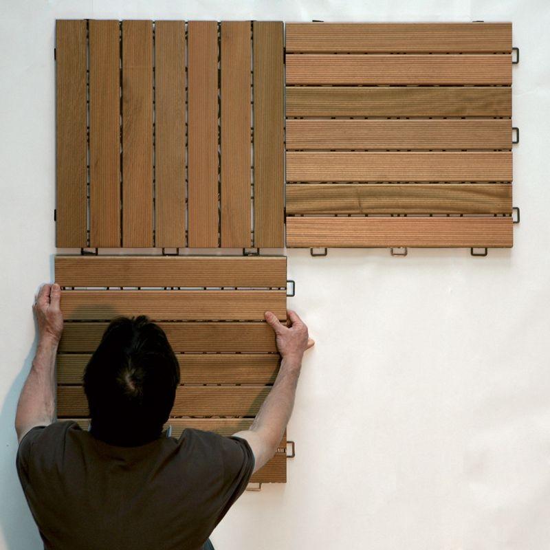 Pavimento in legno teak per esterno e giardino piastrella modulare quadrotta - Pavimentazione giardino in legno ...