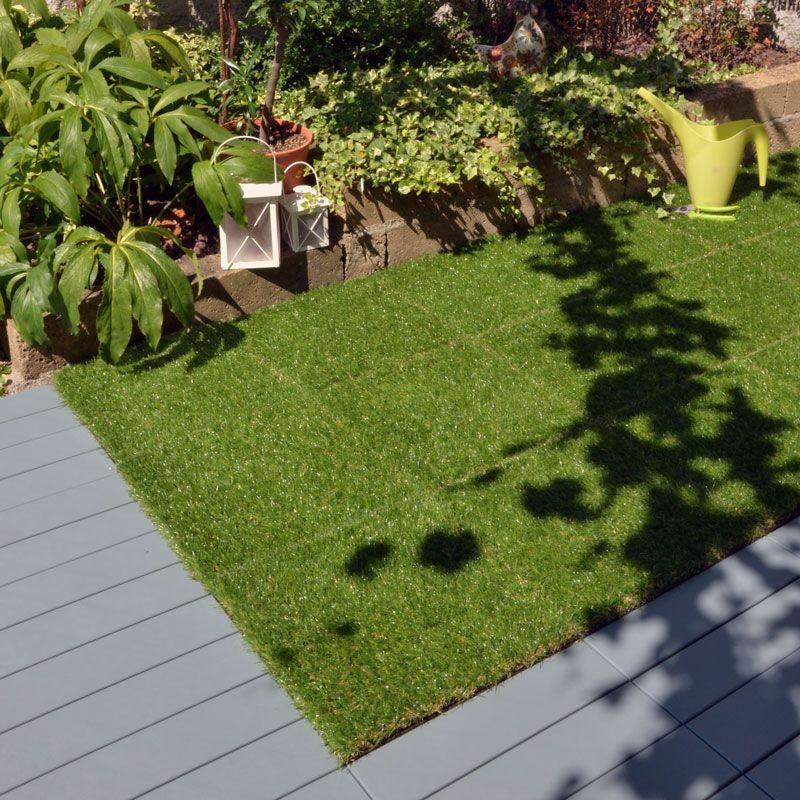 Erba sintetica a piastrelle per prato realistico modulplate - Erba artificiale per giardini ...