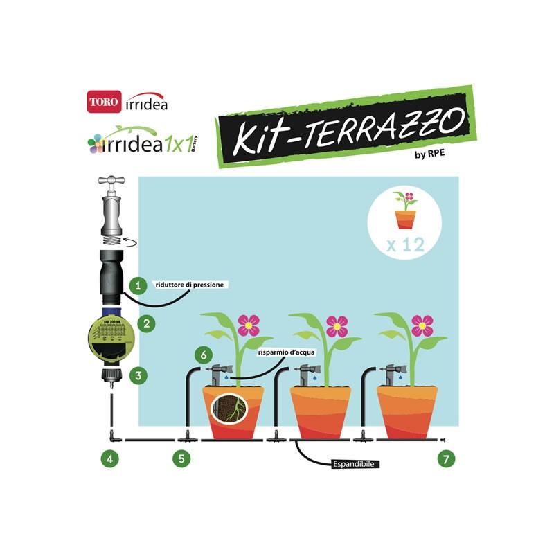 Irrigazione a goccia per piante terrazzo for Impianto irrigazione vasi
