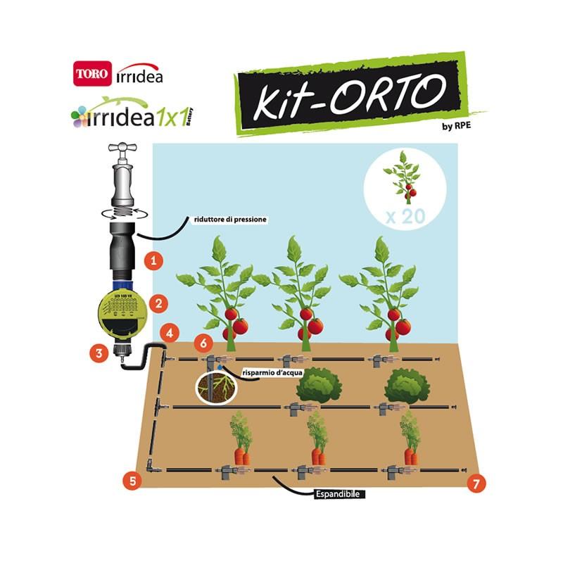 Irrigazione automatica orto a goccia kit orto for Sistema irrigazione a goccia