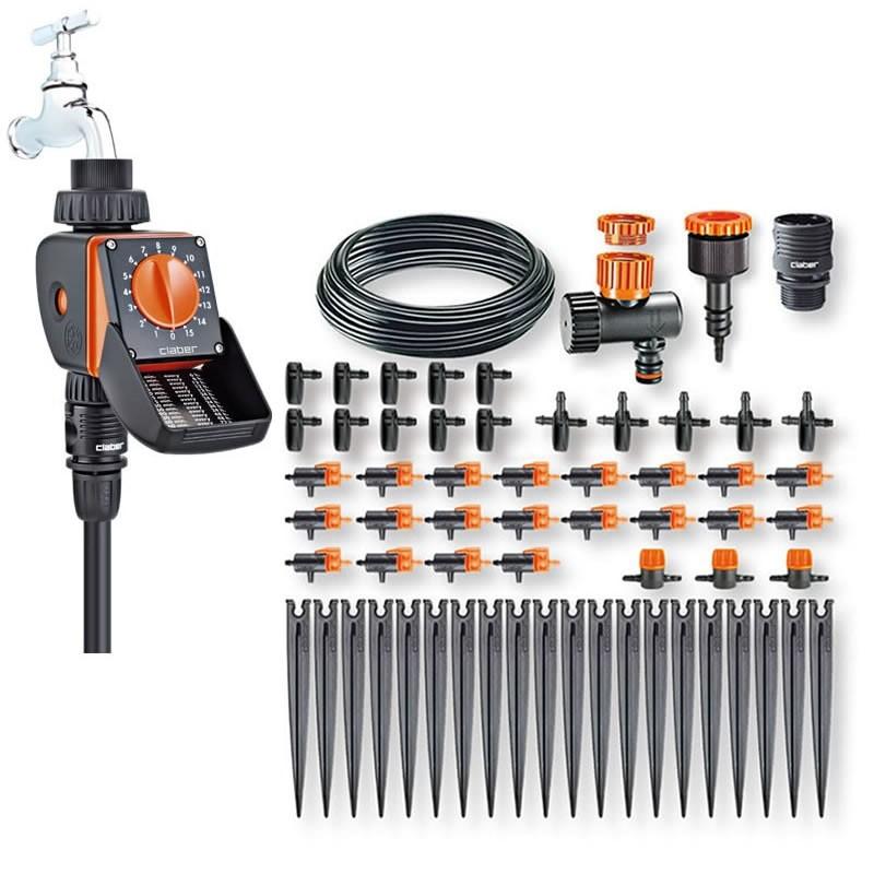 Kit impianto di irrigazione goccia con programmatore for Programmatore irrigazione a batteria claber