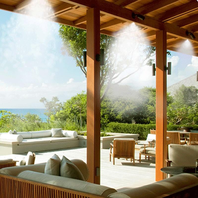 Nebulizzatore acqua per raffrescamento da esterno e giardino for Spruzzatori giardino