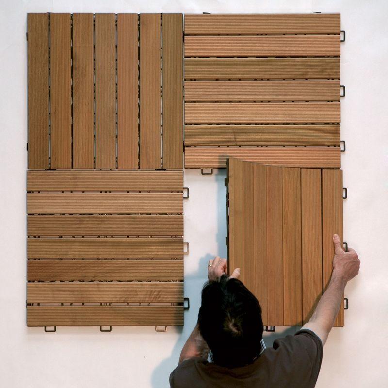 Pavimento in legno teak per esterno e giardino piastrella for Pavimenti per esterni in legno