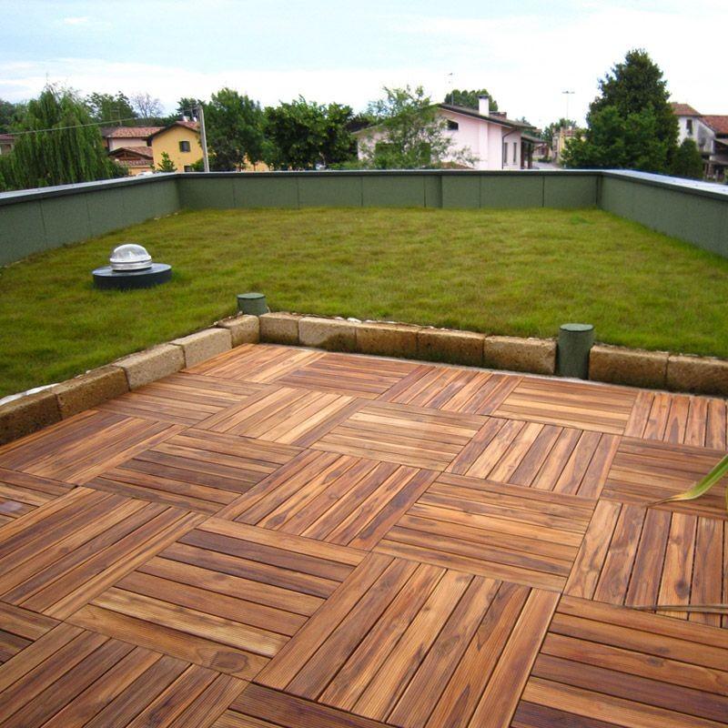 Pavimento in legno teak per esterno e giardino piastrella modulare quadrotta - Pavimento esterno finto legno ...