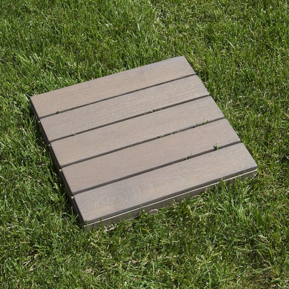 Quadrotte in legno per pavimenti esterni Woodplate Robinia grigio