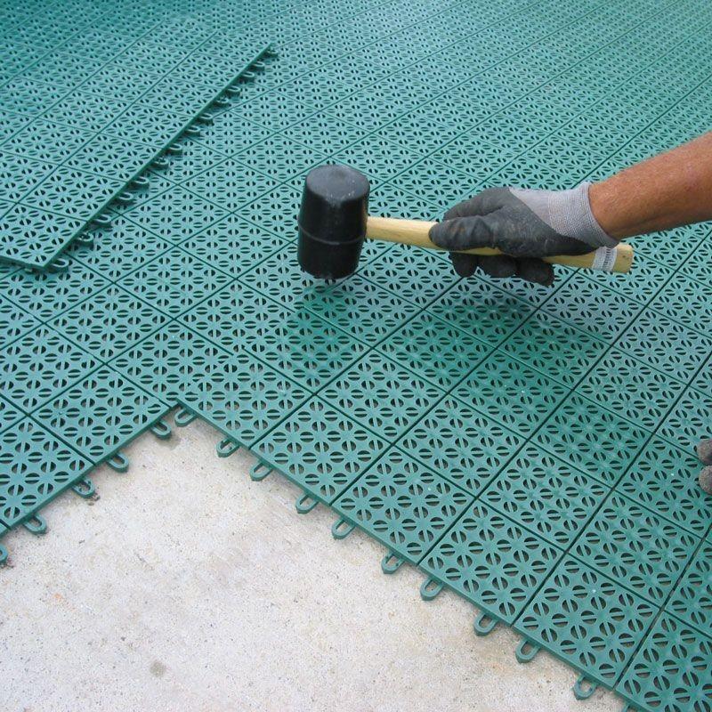 Pavimento plastica per giardino autobloccante e drenante multiplate verde - Piastrelle di plastica ...