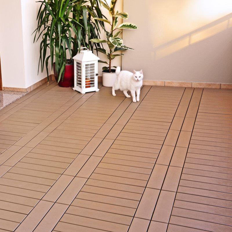 Piastrella in plastica ad effetto legno easyplate beige - Pavimento flottante esterno ...