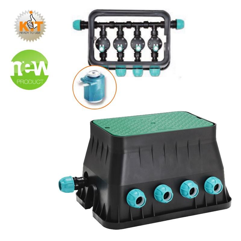 Pozzetto per impianto di irrigazione premontato con 4 for Elettrovalvole per irrigazione