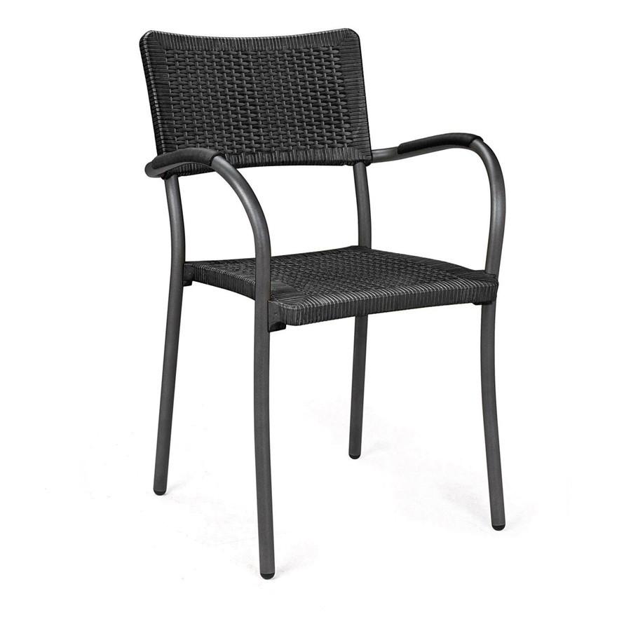 La sedia Artica Wicker finto rattan e alluminio è dotata di piedini ...