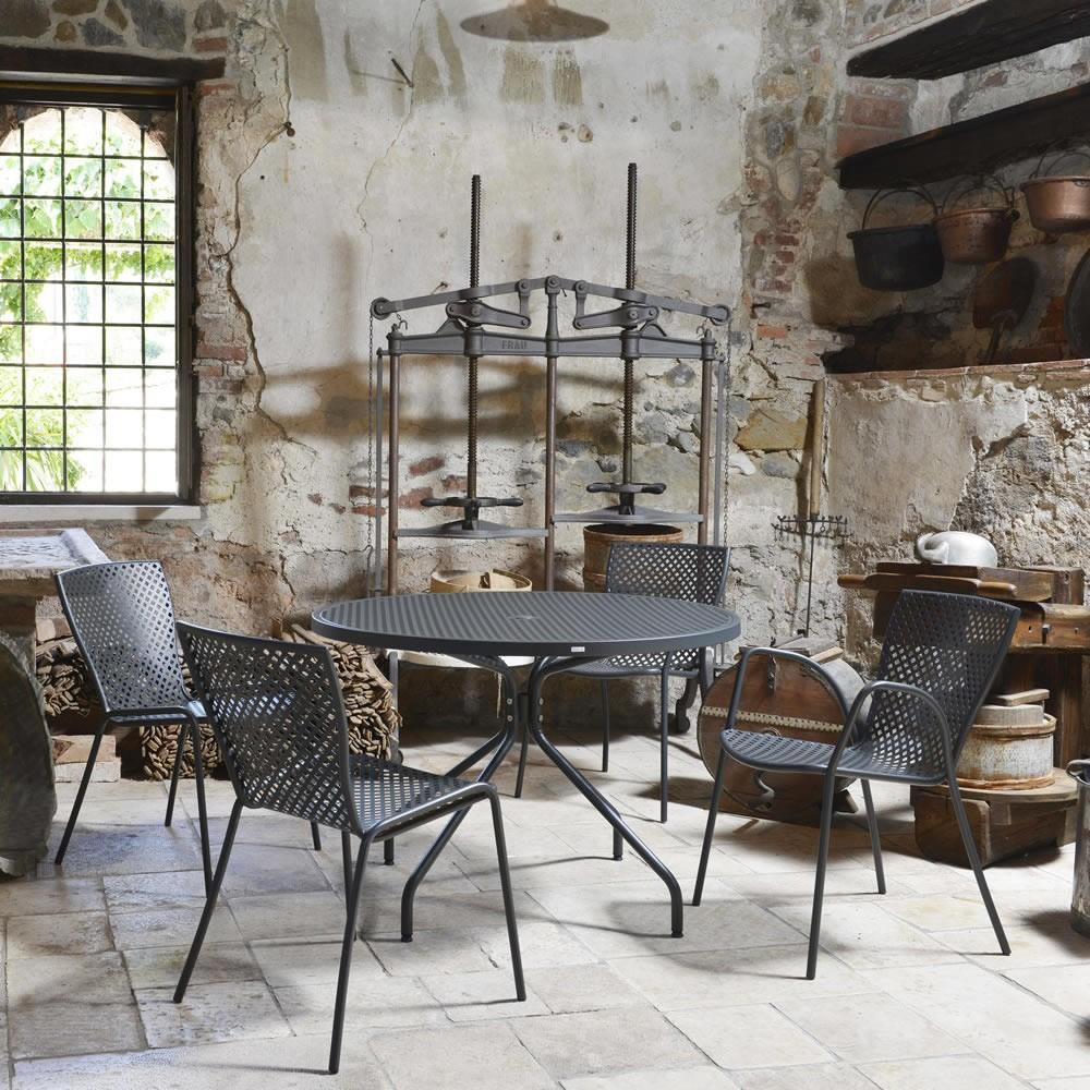 Tavolo rotondo in ferro per giardino estate 110 vendita for Pianificatore di piano online