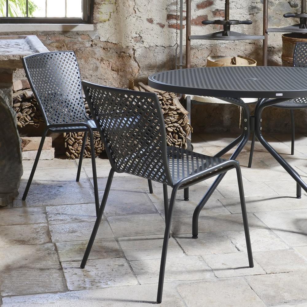 Sedia in acciaio zincato per giardino sonia 1 vendita for Sedie da esterno in ferro battuto