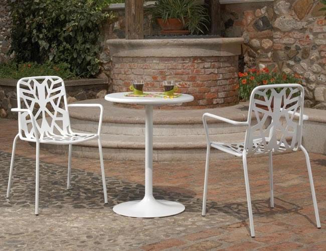 Sedia di design in metallo zincato per giardino fancy leaf 2