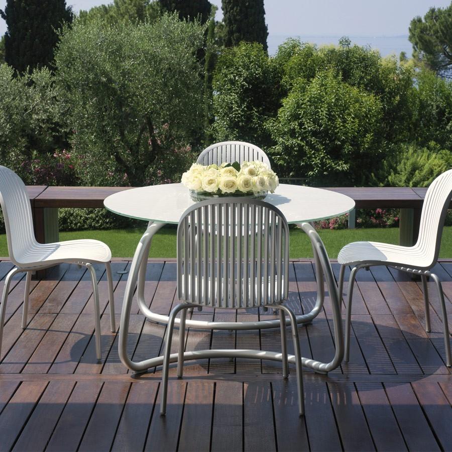 Tavolo Per Esterno Alluminio.Tavolo Vetro E Alluminio Loto Dinner 120 Nardi