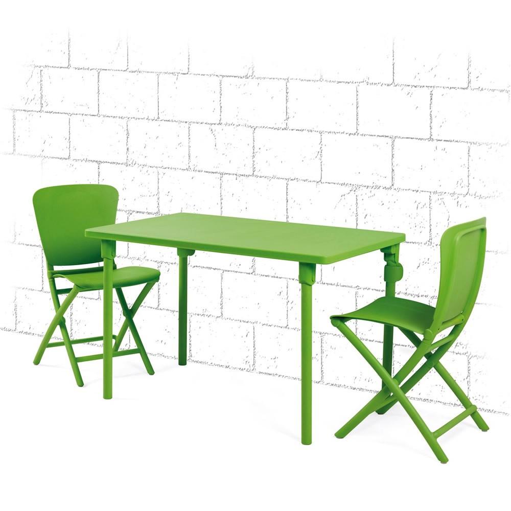 Tavolo e sedie pieghevoli da giardino ed esterno zic zac for Tavolo e sedie da balcone