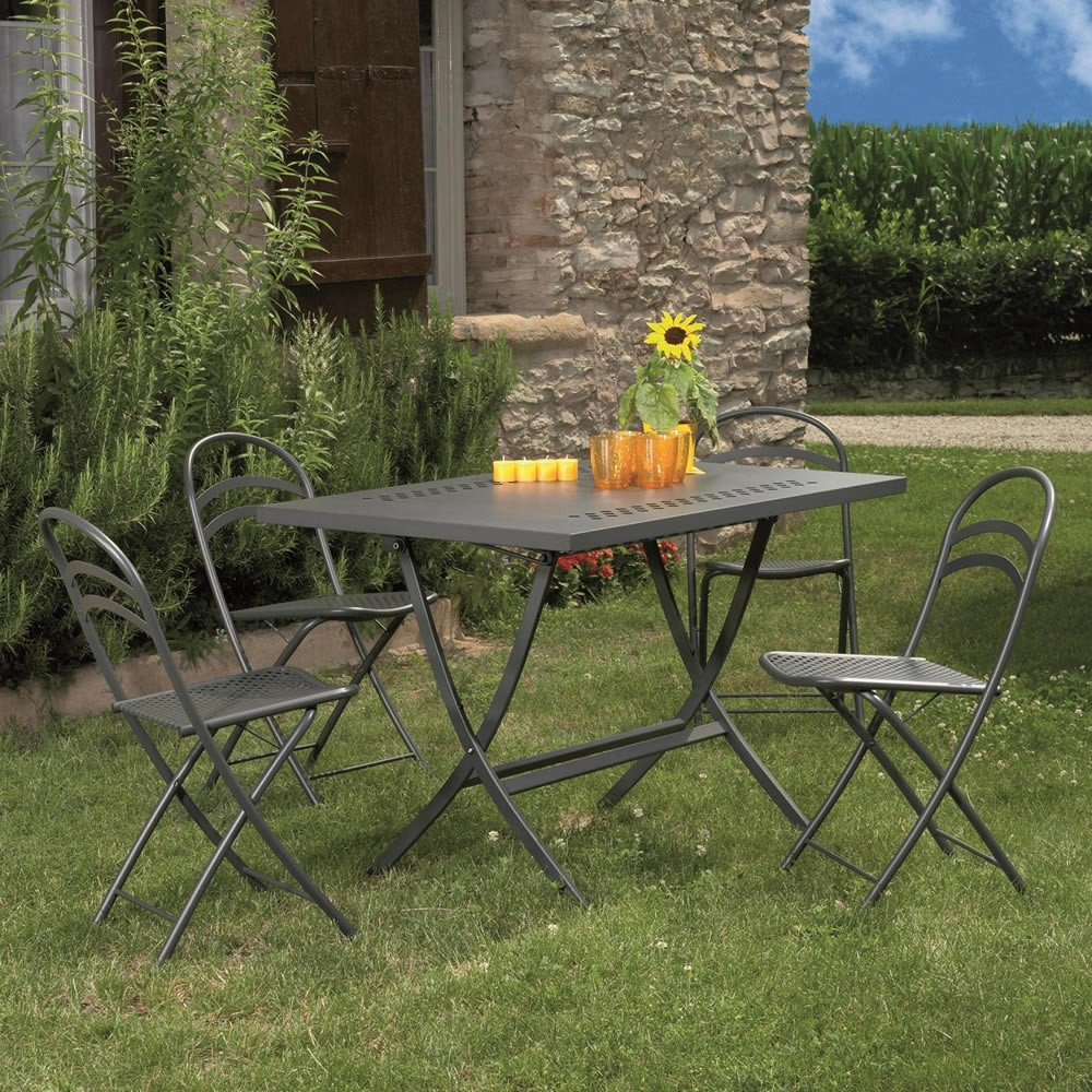 Tavolo pieghevole in metallo per esterni hermes 120 for Tavolo metallo giardino