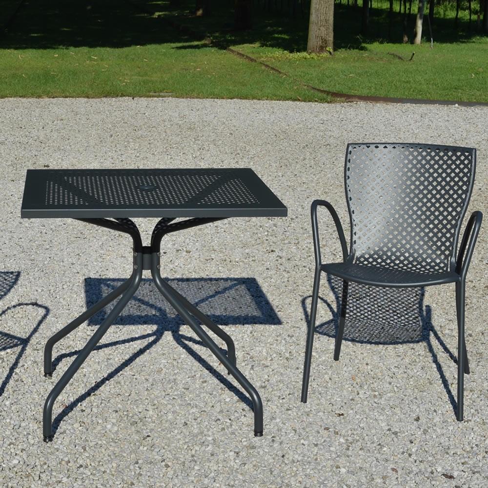 Tavolo quadrato in ferro per giardino estate 80 vendita for Ferro tubolare quadrato prezzo