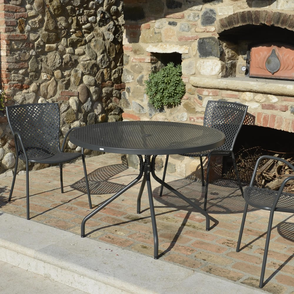 Tavolo rotondo in ferro per giardino estate 110 vendita for Tavoli e sedie in ferro battuto da giardino prezzi