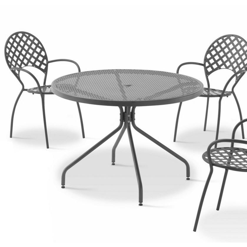 Tavolo rotondo in ferro per giardino estate 110 vendita - Tavoli per esterno ...