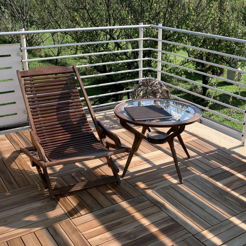 Pavimento in legno teak per esterno e giardino piastrella modulare quadrotta - Pavimento terrazzo esterno ...