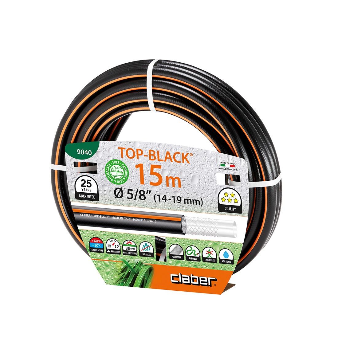 Tubo per irrigazione nero claber top black 15 metri for Tubo giardino 5 8