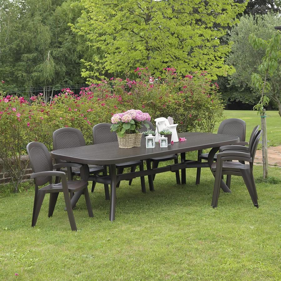 Tavolo rettangolare allungabile da giardino toscana 250 - Tavolo da giardino in plastica ...
