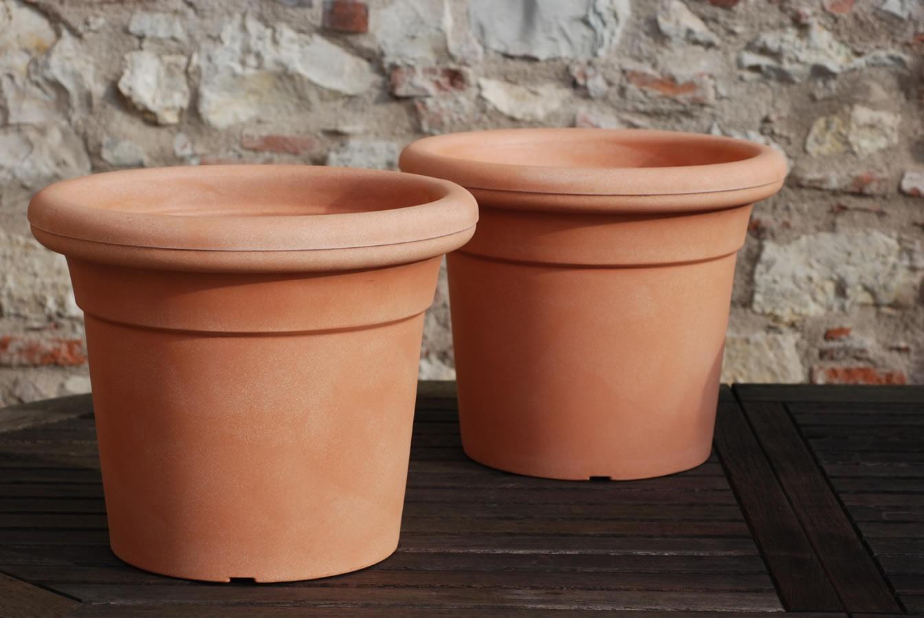 Vaso classico terracotta plastica kronos nicoli - Vasi terracotta da giardino ...