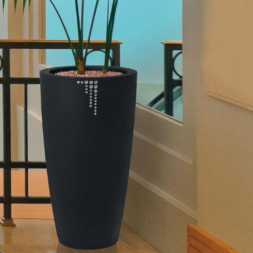 Vaso di design per piante con finitura opaca e cristalli for Vasi da arredamento design