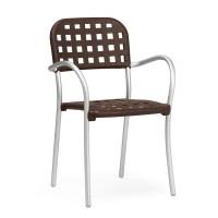 Sedia in alluminio Aurora di Nardi - Caffè / Anodizzato Argento